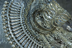Treasure, heap of Beautiful Oriental Silver Bridal jewelry Indi Stock Image