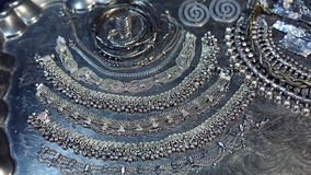 Treasure, heap of Beautiful Oriental Silver Bridal jewelry Indian, Arab, African, Egyptian. Silver jewelry. Lot of Beautiful Oriental Silver, Gold Indian, Arab stock video footage