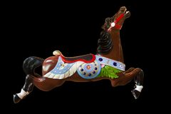 Carousel horse Treasure on black background at the Burnaby Village Museum. Treasure- horse number 8 on the C W Parker Carousel at the Burnaby Village Museum Stock Photography