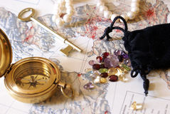 Treasure Hunt. A low contrast still-life of things someone would have during a treasure hunt royalty free stock image