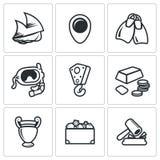 Treasure hunt icons set. Vector Illustration. Stock Photo