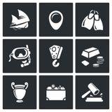 Treasure hunt icons set. Vector Illustration. Royalty Free Stock Photo