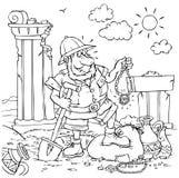 Treasure hunter. Black and white illustration: treasure hunter with his trove Stock Photography