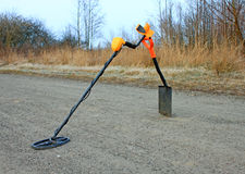Treasure hunter equipment. Metal detector and shovel Stock Image