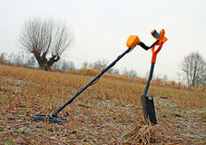 Treasure hunter equipment. Metal detector and shovel Stock Photo