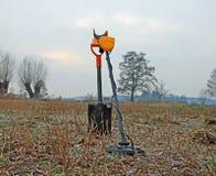 Treasure hunter equipment. Metal detector and shovel.  Royalty Free Stock Images