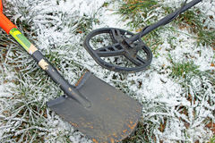 Treasure hunter equipment. Metal detector and shovel.  Royalty Free Stock Photography