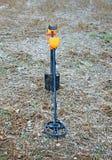 Treasure hunter equipment. Metal detector and shovel.  Stock Photography