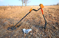 Treasure hunter equipment. Metal detector and shovel Royalty Free Stock Images