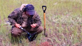 Treasure hunter in the field with a metal detector. And a shovel in search of treasure and jewelry, archeology as a hobby, search for historical heritage stock video