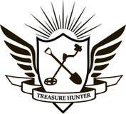 Treasure hunter. Heraldic logo treasure hunter shield, wings, shovel, metal detector Stock Images
