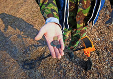 Free Treasure Hunter. Searching With Metal Detector. Royalty Free Stock Photography - 67578997