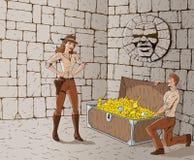 Treasure hunters. Marveling at their treasure Stock Images