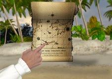 Treasure Hunting Map Illustration Stock Photos