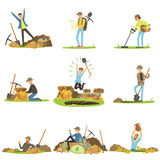 Treasure hunting, people in search of treasure. Cartoon detailed Illustrations. Isolated on white background Stock Photo