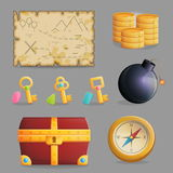 Treasure hunting set of game icons. Collection of items for treasure hunting journey and navigation. Accessories for treasure hunting journey, treasure chest Stock Images