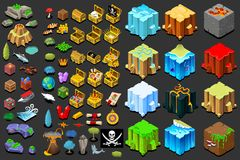 Treasure icons for isometric game Stock Photography