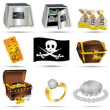 Treasure Icons Set Royalty Free Stock Photo