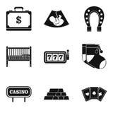 Treasure icons set, simple style. Treasure icons set. Simple set of 9 treasure vector icons for web isolated on white background Stock Photography