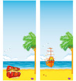 Treasure Island. Two vertical banner with a picture of the sea, islands, sail boat and a chest full of gold coins and precious stones Royalty Free Stock Images