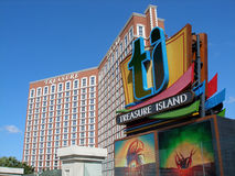 Treasure Island Hotel, Las Vegas. Treasure Island hotel and sign as seen from the Strip, Las Vegas Stock Photo