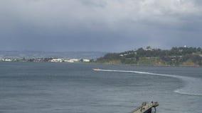 Treasure island located in San Francisco, California. San Francisco Bay with Treasure Island in background stock footage
