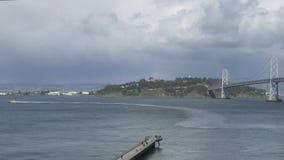 Treasure island located in San Francisco, California. San Francisco Bay with Treasure Island in background stock video footage