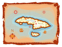 Treasure island map. Ancient map illustration of a tropical island stock illustration