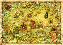 Treasure island map of Caribbean Sea with ships and compasses. Decorative antique background with nautical chart, adventure treasures hunt concept, watercolor Royalty Free Stock Photography
