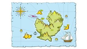 Treasure island map in hand drawn style animation. Sea adventure pirate plan video stock footage