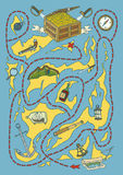 Treasure Island Map Maze Game Stock Photos
