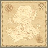 Treasure island map. Retro wallpaper vintage islands map nautical travel background with compass ship pirate concept stock illustration