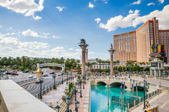 Treasure Island and Mirage signs seen from the Venetian Royalty Free Stock Photo