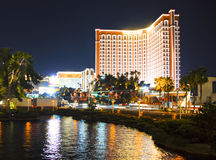 Treasure Island at Night. Treasure Island Hotel in Las Vegas at night. Water in the foreground royalty free stock images