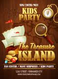 Treasure Island party flyer. Vector template Royalty Free Stock Photo