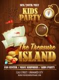 Treasure Island party flyer. Vector template Royalty Free Stock Photo