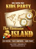 Treasure Island party flyer. Vector template Stock Images
