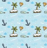 Treasure island seamless background in kawaii style vector stock illustration