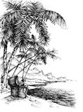Treasure island sketch. Tropical island sketch. Beautiful palm trees on sea shore and a treasure chest Stock Photography