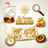 Treasure Island. Vector icons set Royalty Free Stock Photo
