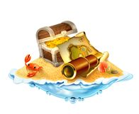 Treasure island, vector illustration Royalty Free Stock Photo