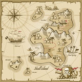 Treasure island vector map in hand drawn style Stock Images