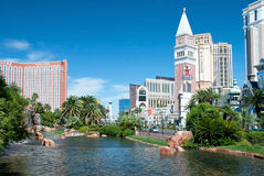 Treasure Island and Venetian Casino Hotel Resort on the Las Vega Stock Photo