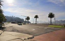 Treasure Island view. View from Treasure Island on Bay Bridge and San Francisco Stock Photo