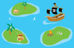 Treasure Islands. With a pirate ship Royalty Free Stock Images