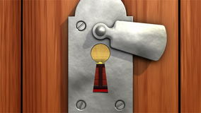 Treasure in keyhole. 3D animation. stock footage