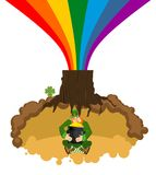 Treasure of Leprechaun in hole under ground. pot of gold. Lair o. F Gnome. dwarf for St.Patricks Day. national irish holiday Stock Images