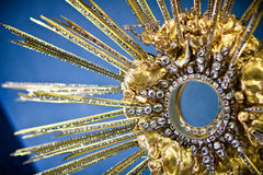 "Treasure of Loreta church, Prague. Detail of the Diamond Monstrance called ""Prague Sun"". It is a gift from Countess Ludmila of Kolowrat, who got more than Royalty Free Stock Photos"