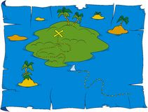 Treasure map. Cartoon illustration of treasure map Stock Photo