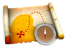 Treasure map. 3d illustration of treasure map scroll and compass over white background Royalty Free Stock Image